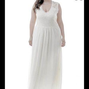 XXL WHITE lace chiffon wedding bride maxi dress